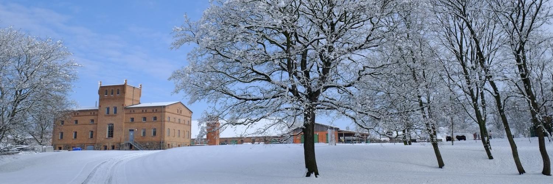 Die Gutsanlage Zinzow im Schnee